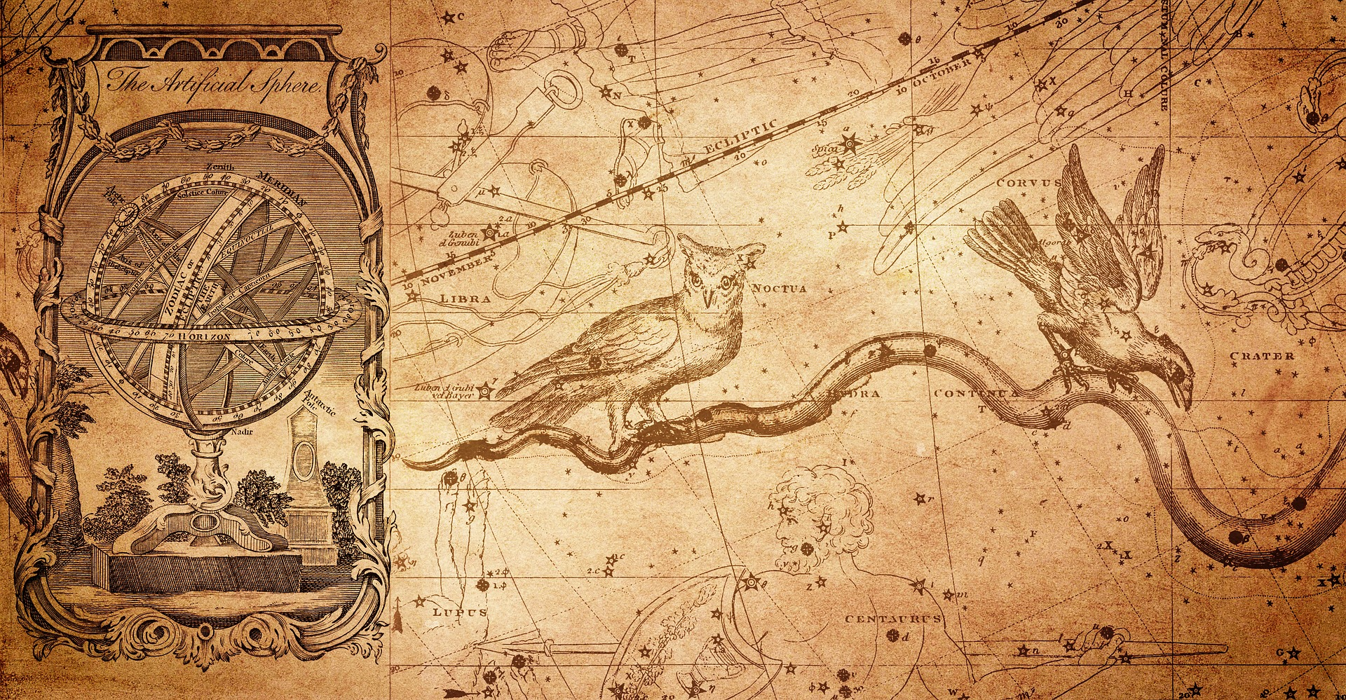 The sphere of the earth and the zodiac are illustrated here in a drawing that appears quite antique
